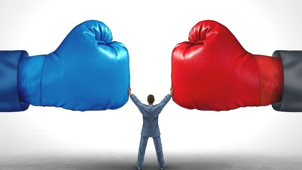 Dos guantes de boxeo y una perdona intentando pararlos